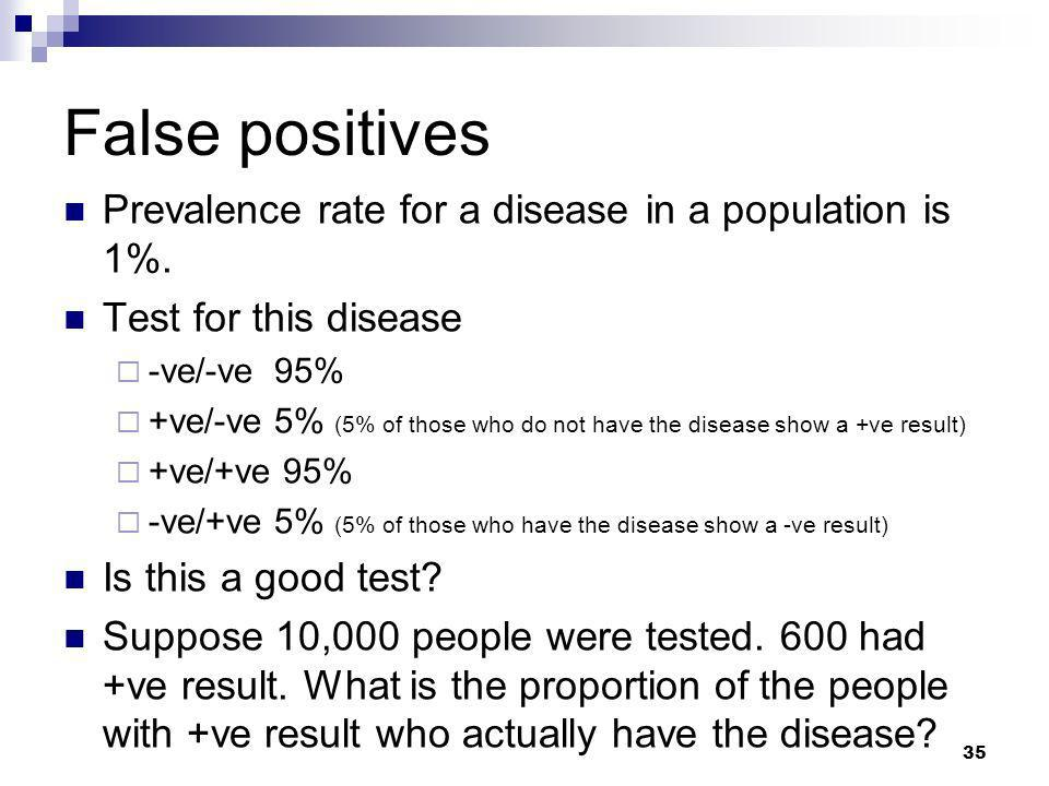 False positives Prevalence rate for a disease in a population is 1%.
