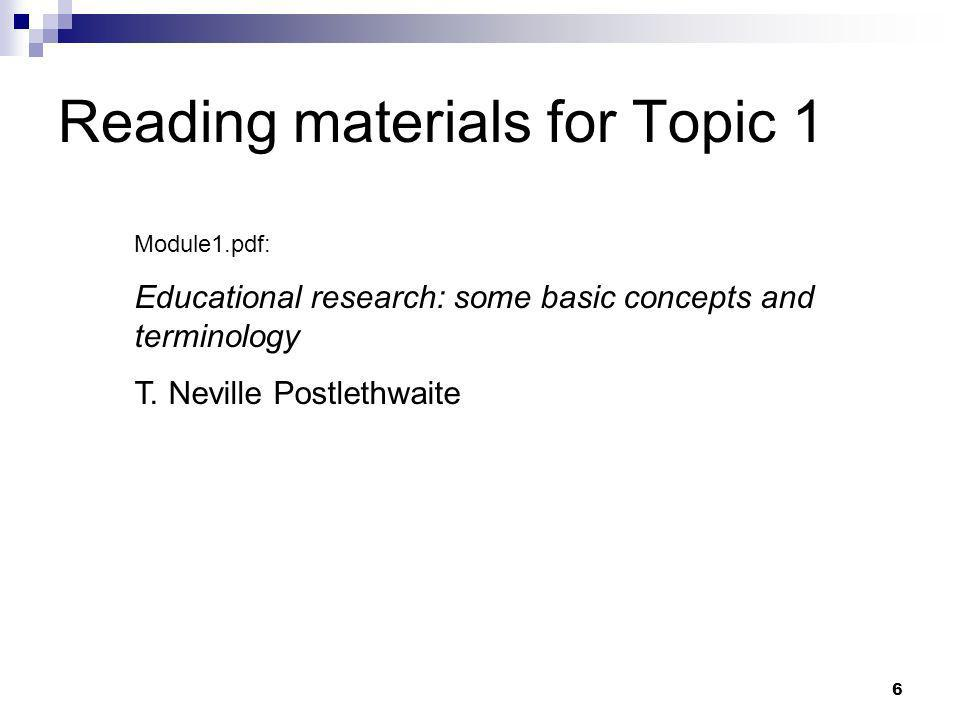 Reading materials for Topic 1