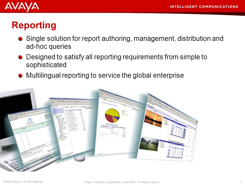 Reporting Single solution for report authoring, management, distribution and ad-hoc queries.