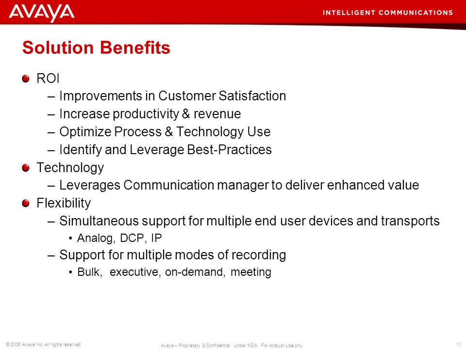 Solution Benefits ROI Improvements in Customer Satisfaction