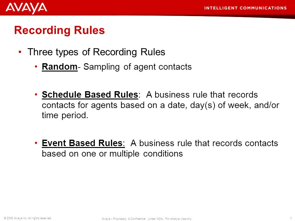 Recording Rules Three types of Recording Rules