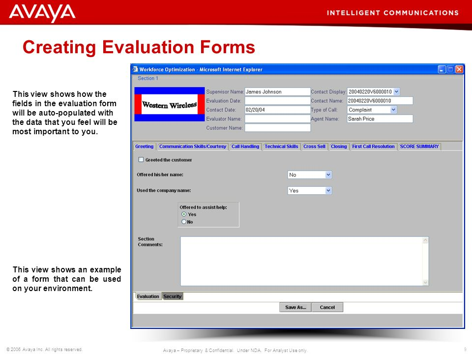 Creating Evaluation Forms