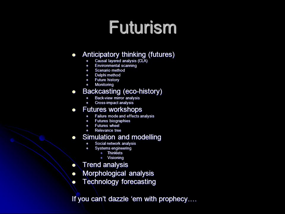 Futurism Anticipatory thinking (futures) Backcasting (eco-history)