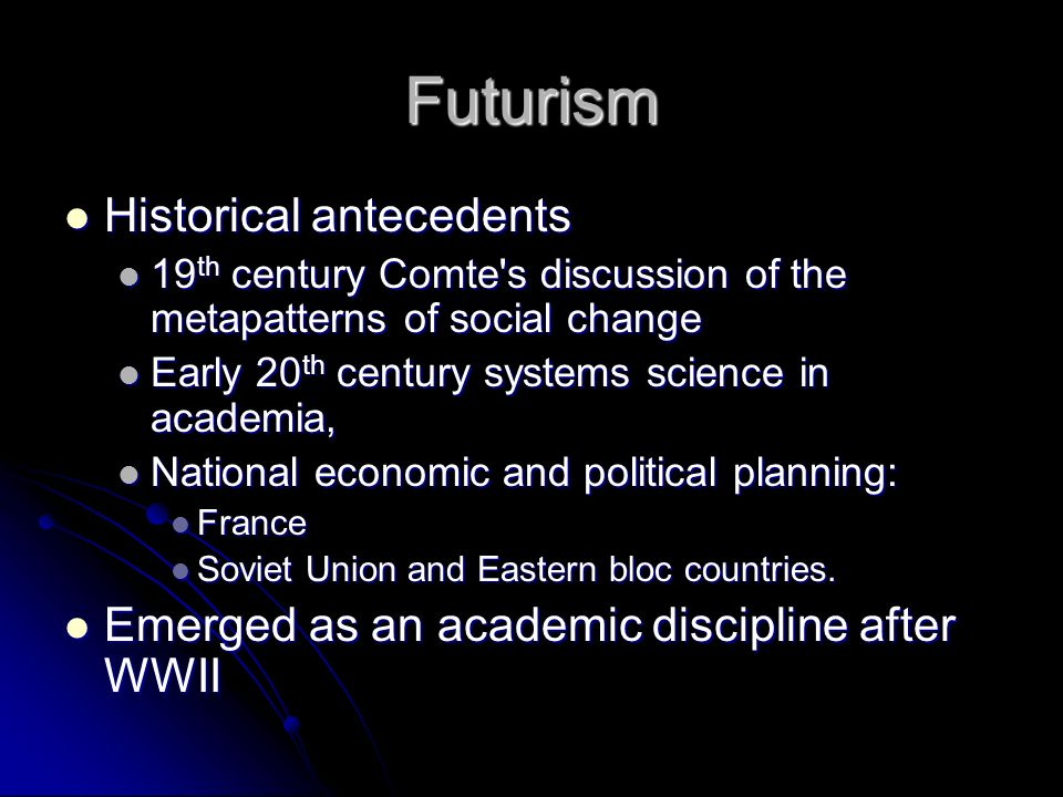 Futurism Historical antecedents