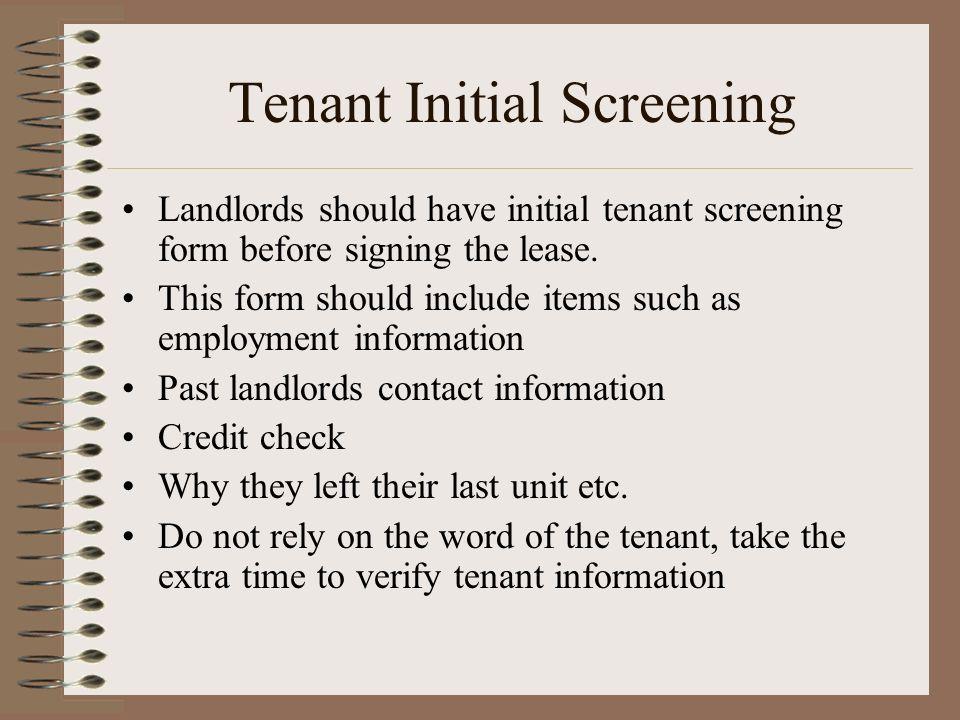 Tenant Initial Screening