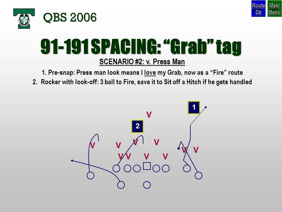 91-191 SPACING: Grab tag QBS 2006 SCENARIO #2: v. Press Man V V V V