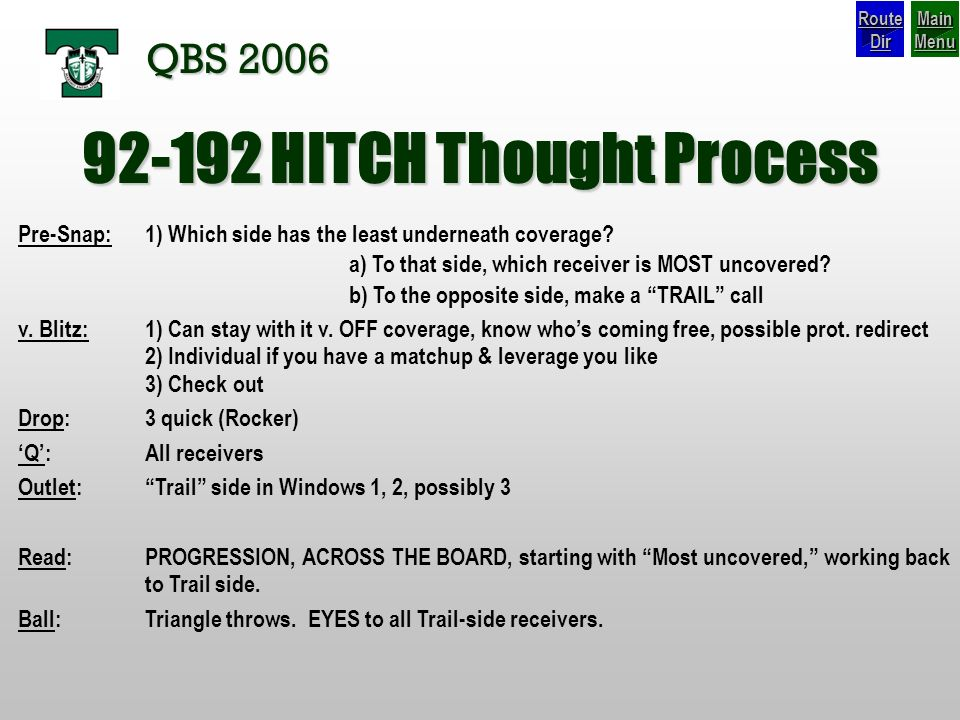 92-192 HITCH Thought Process