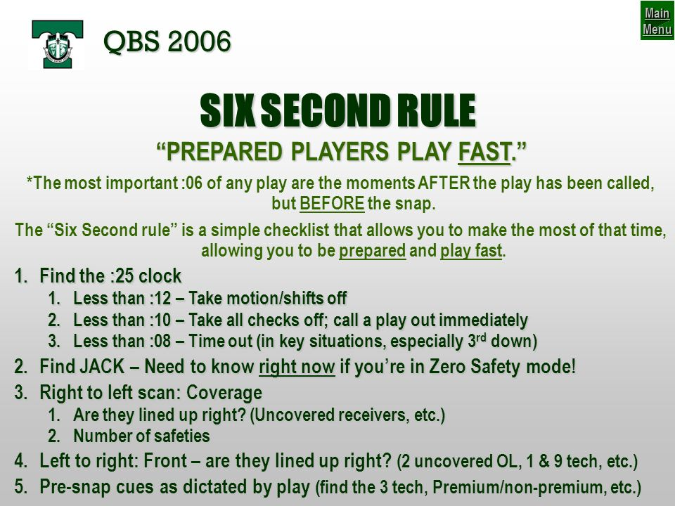 PREPARED PLAYERS PLAY FAST.