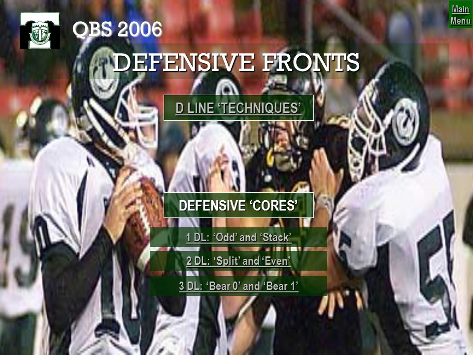 DEFENSIVE FRONTS QBS 2006 D LINE 'TECHNIQUES' DEFENSIVE 'CORES'