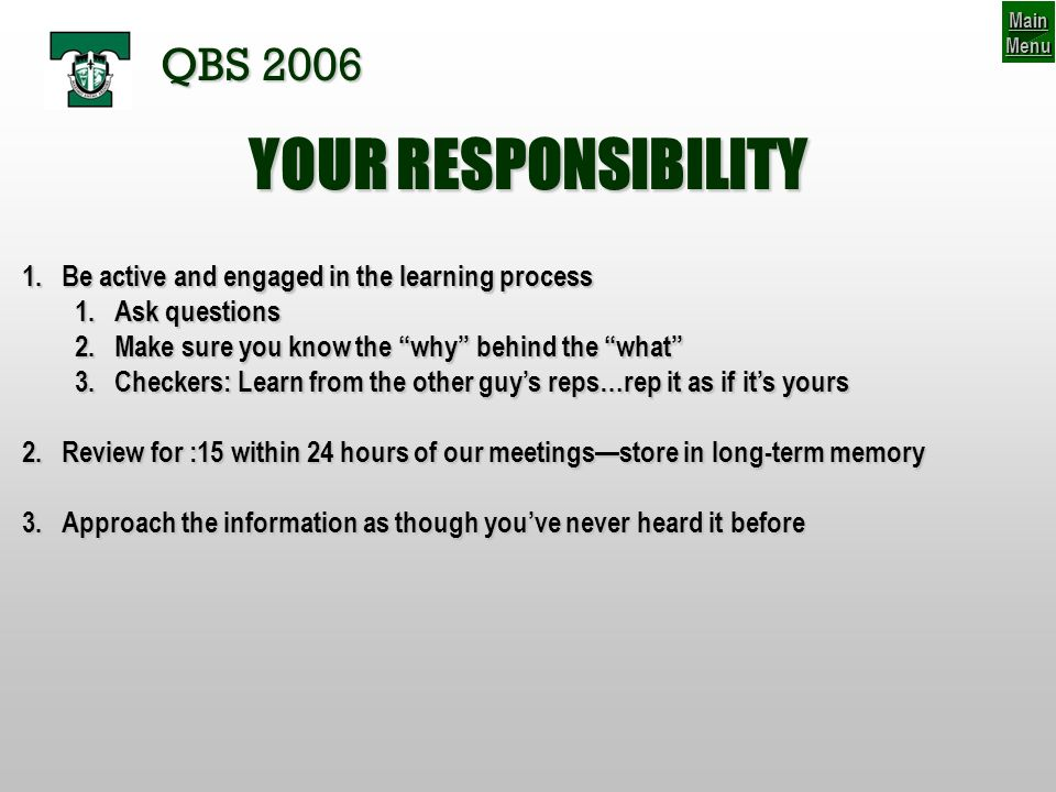 YOUR RESPONSIBILITY QBS 2006
