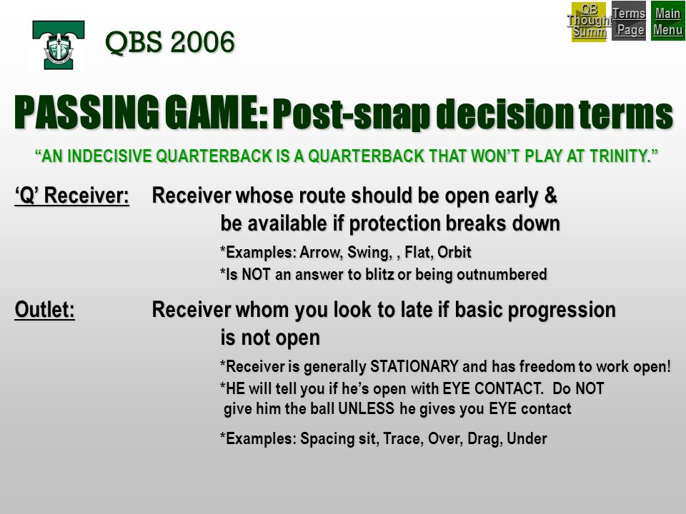 PASSING GAME: Post-snap decision terms