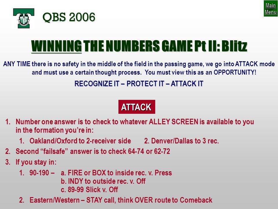 WINNING THE NUMBERS GAME Pt II: Blitz