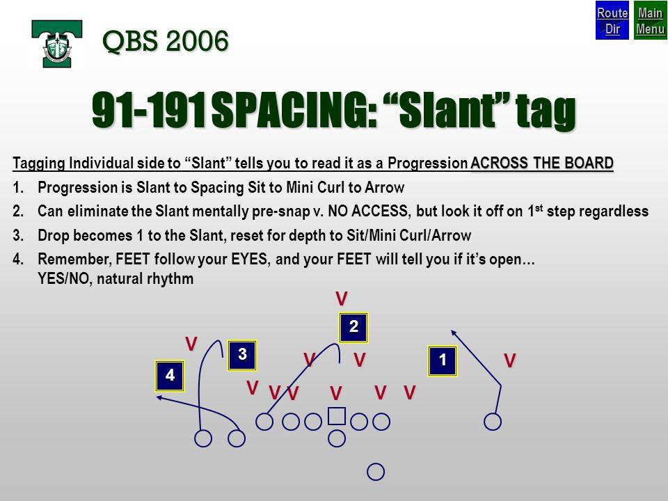 91-191 SPACING: Slant tag QBS 2006 V