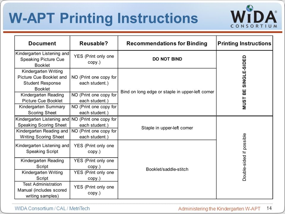 W-APT Printing Instructions