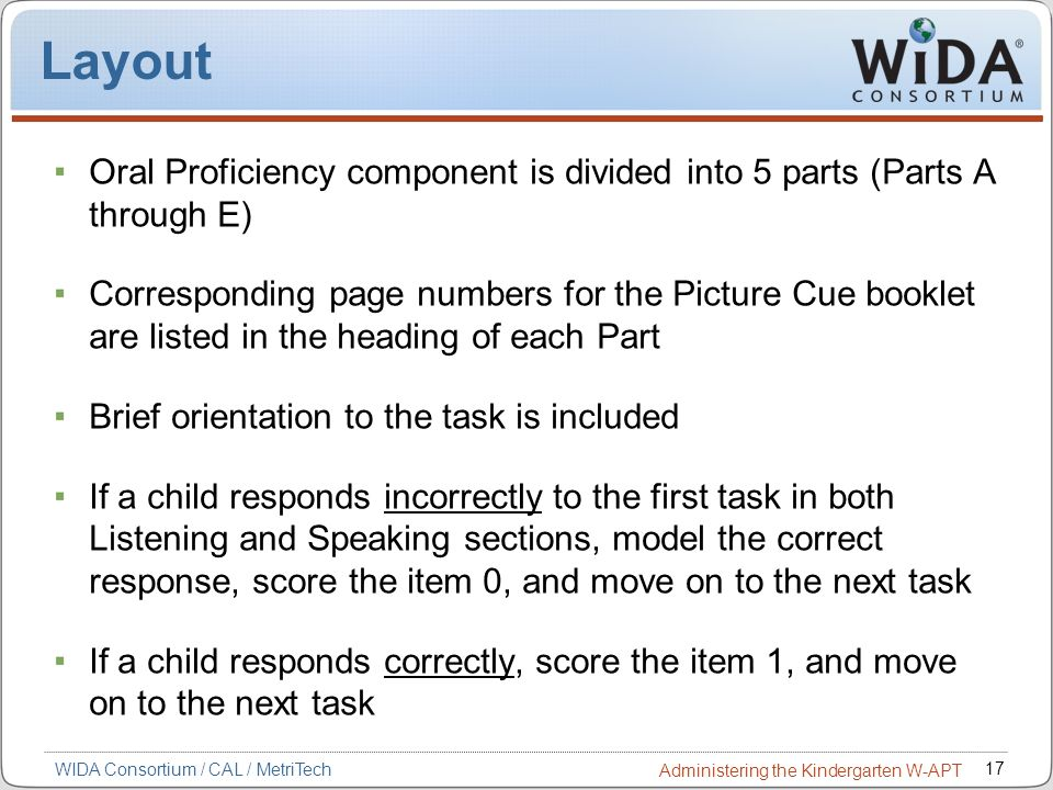Layout Oral Proficiency component is divided into 5 parts (Parts A through E)