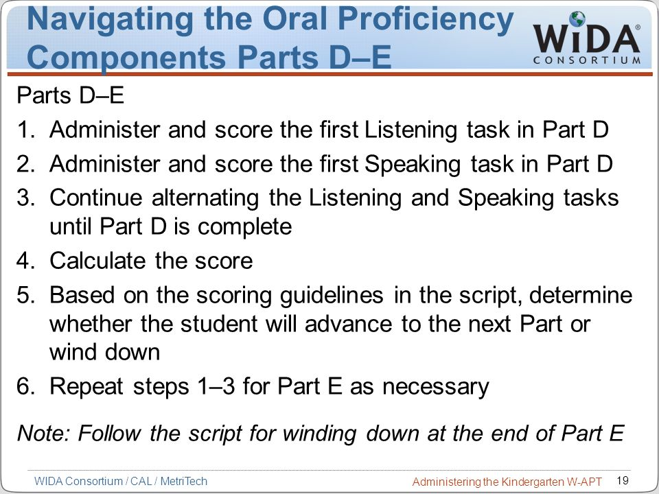 Navigating the Oral Proficiency Components Parts D–E
