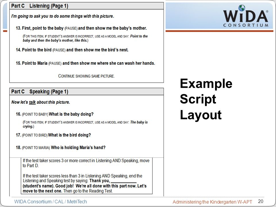 Example Script Layout 20