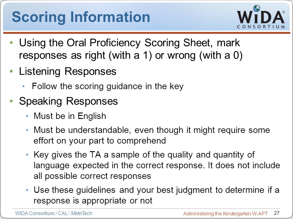 Scoring Information Using the Oral Proficiency Scoring Sheet, mark responses as right (with a 1) or wrong (with a 0)