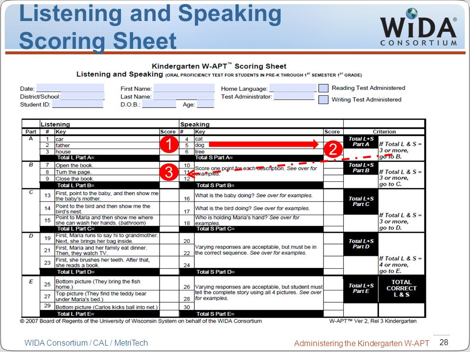 Listening and Speaking Scoring Sheet