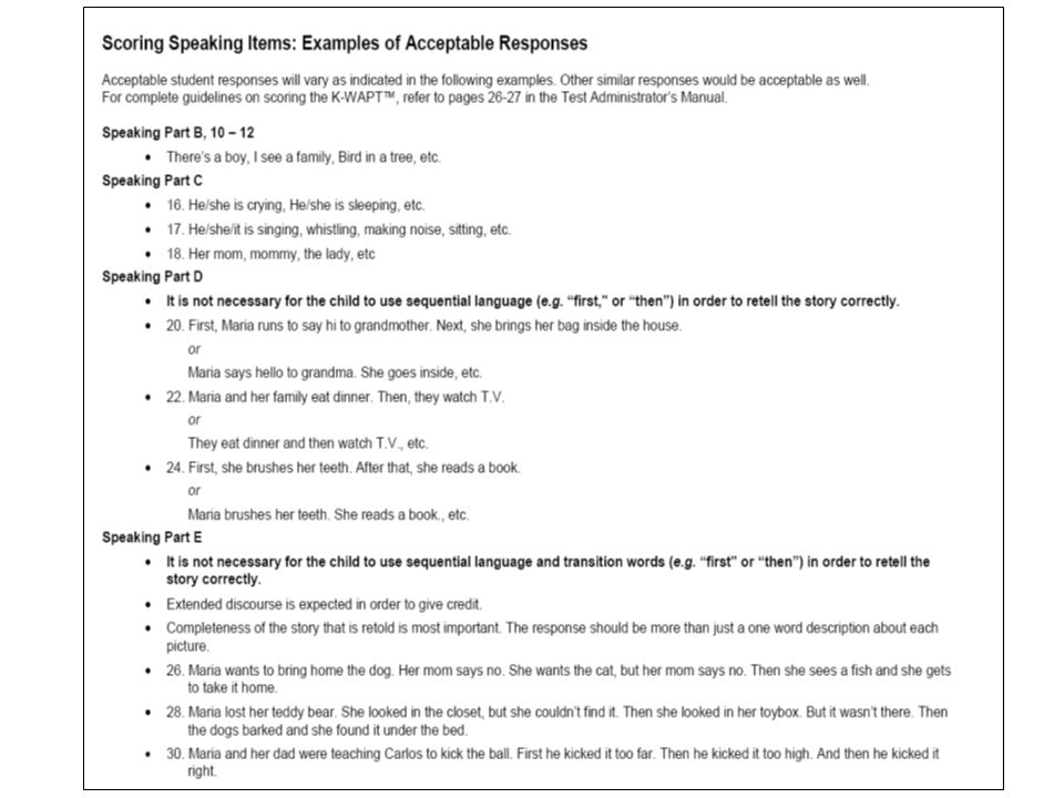 Provide full page handouts of sample score sheet for participants.