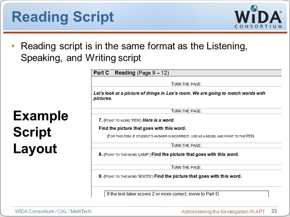 Reading Script Example Script Layout