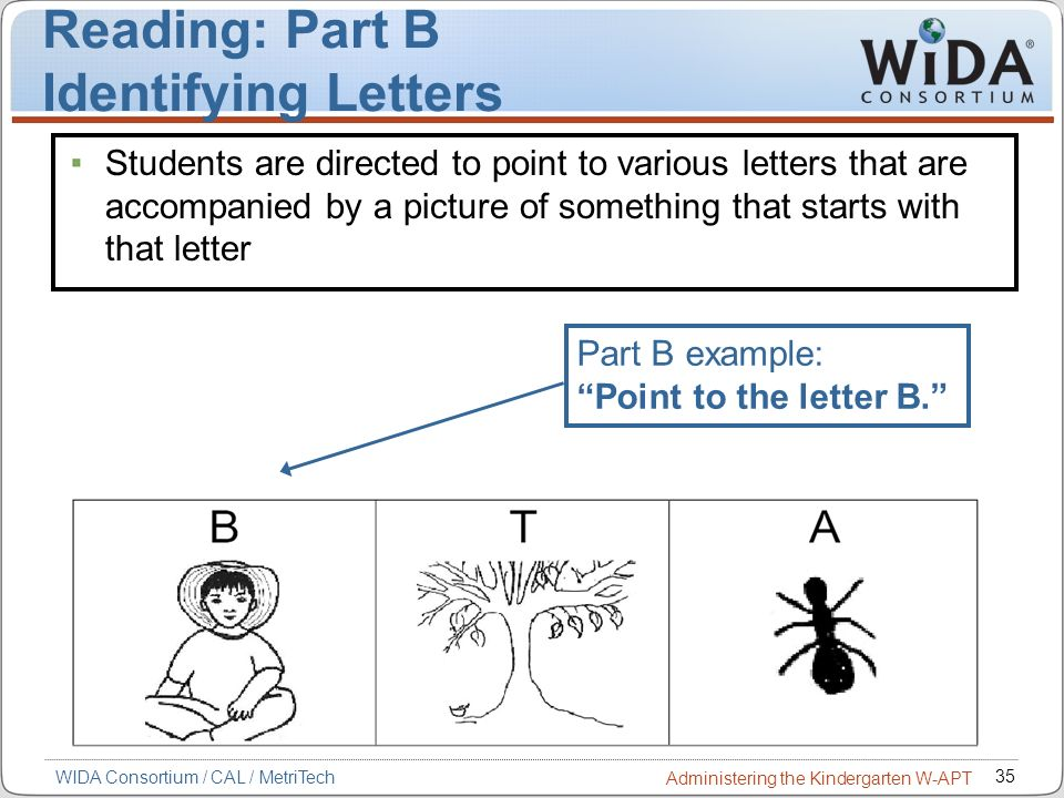 Reading: Part B Identifying Letters