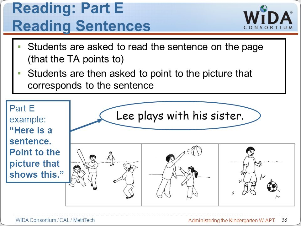Reading: Part E Reading Sentences