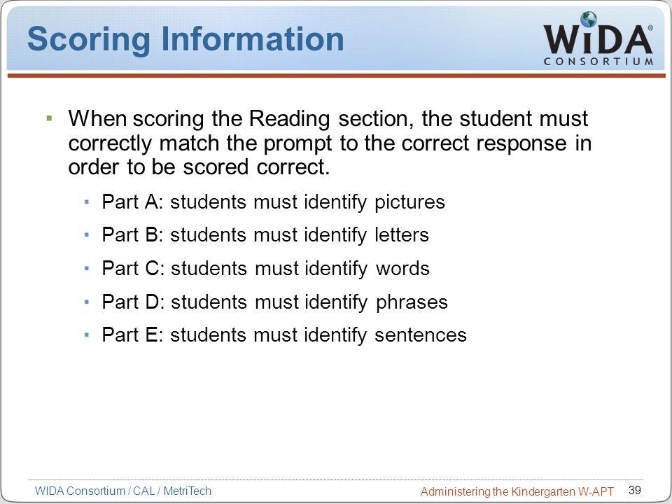 Scoring Information