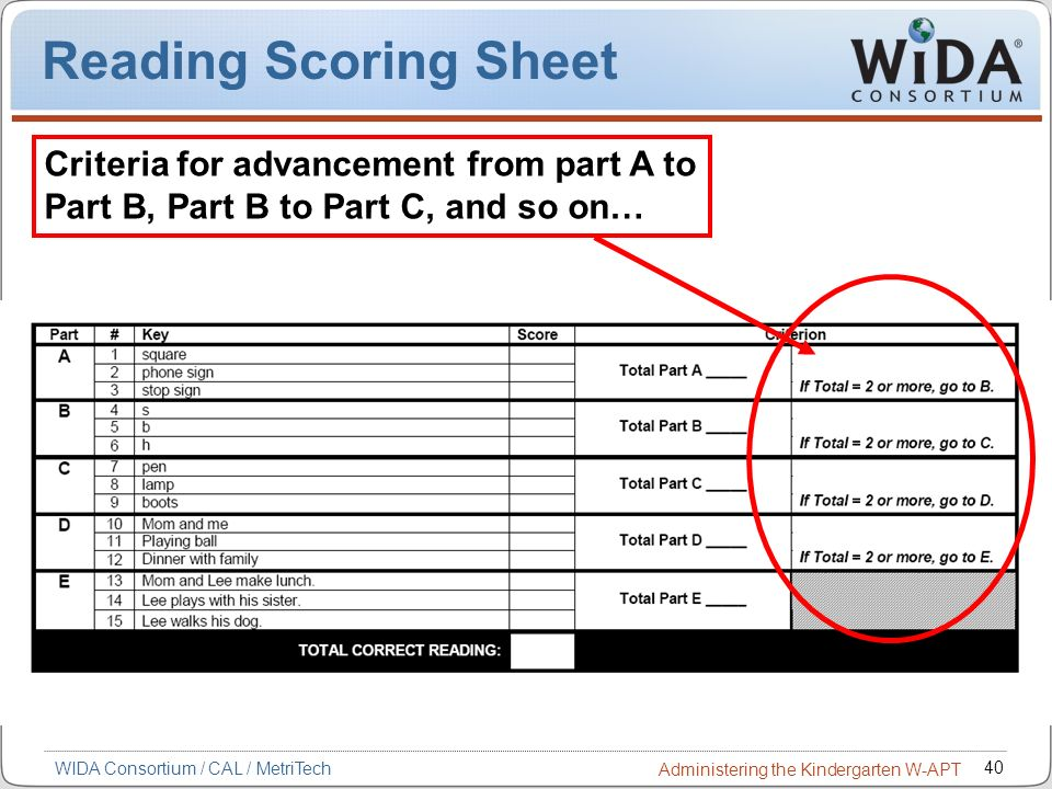 Reading Scoring Sheet Criteria for advancement from part A to Part B, Part B to Part C, and so on…