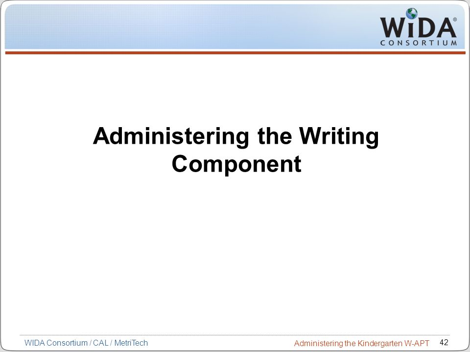 Administering the Writing Component