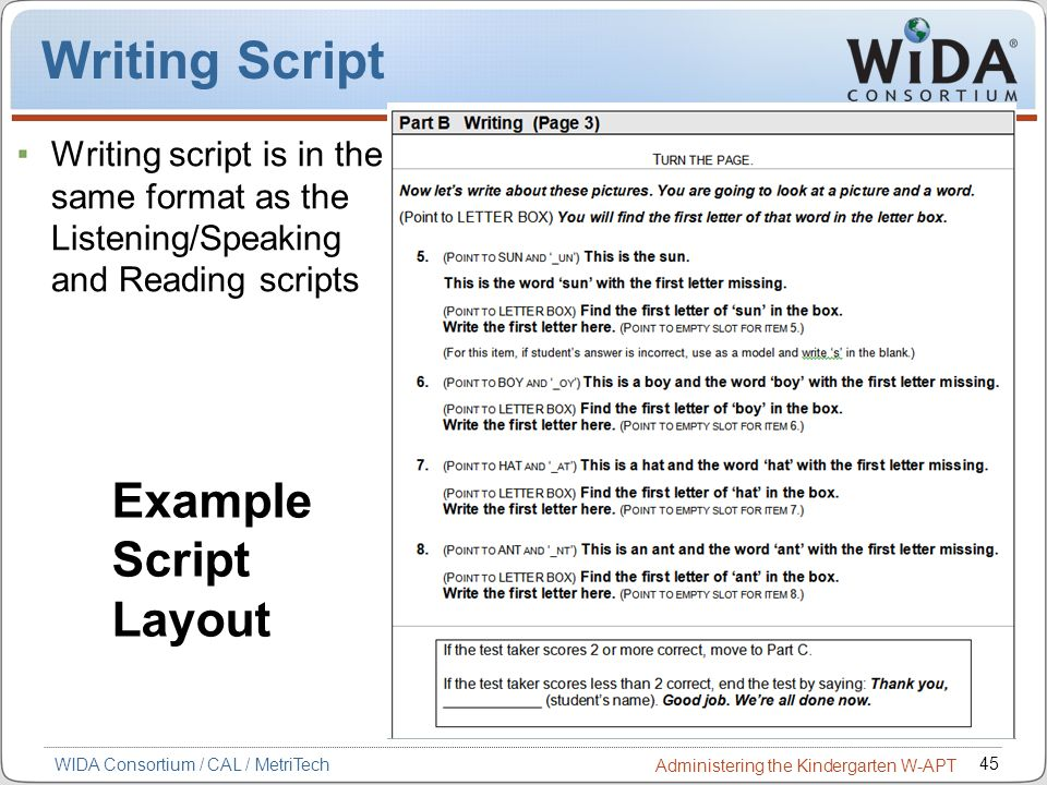 Writing Script Example Script Layout
