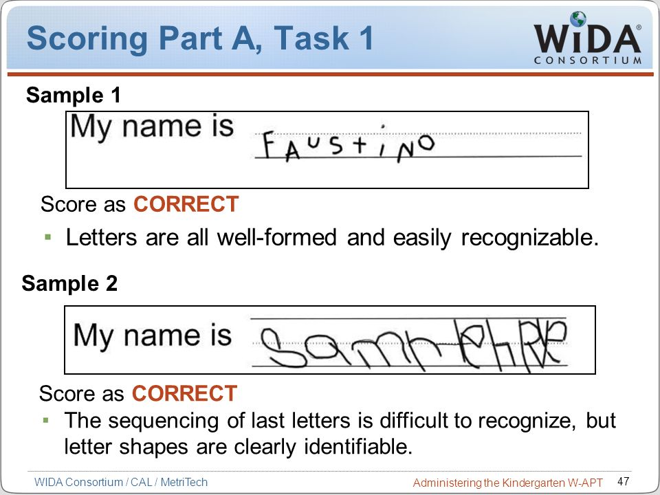 Scoring Part A, Task 1 Sample 1. Score as CORRECT. Letters are all well-formed and easily recognizable.