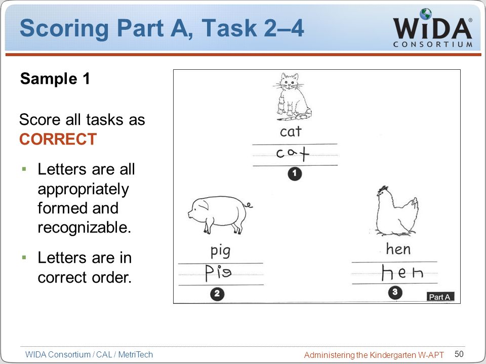 Scoring Part A, Task 2–4 Sample 1 Score all tasks as CORRECT