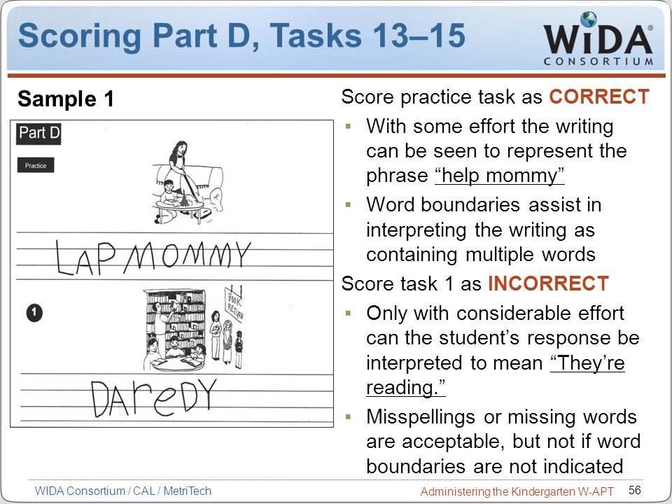 Scoring Part D, Tasks 13–15 Sample 1 Score practice task as CORRECT