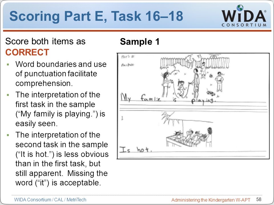 Scoring Part E, Task 16–18 Score both items as CORRECT Sample 1
