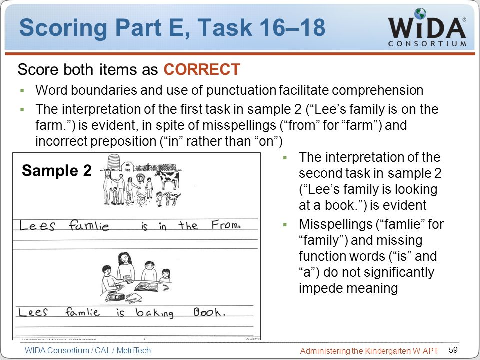 Scoring Part E, Task 16–18 Score both items as CORRECT Sample 2