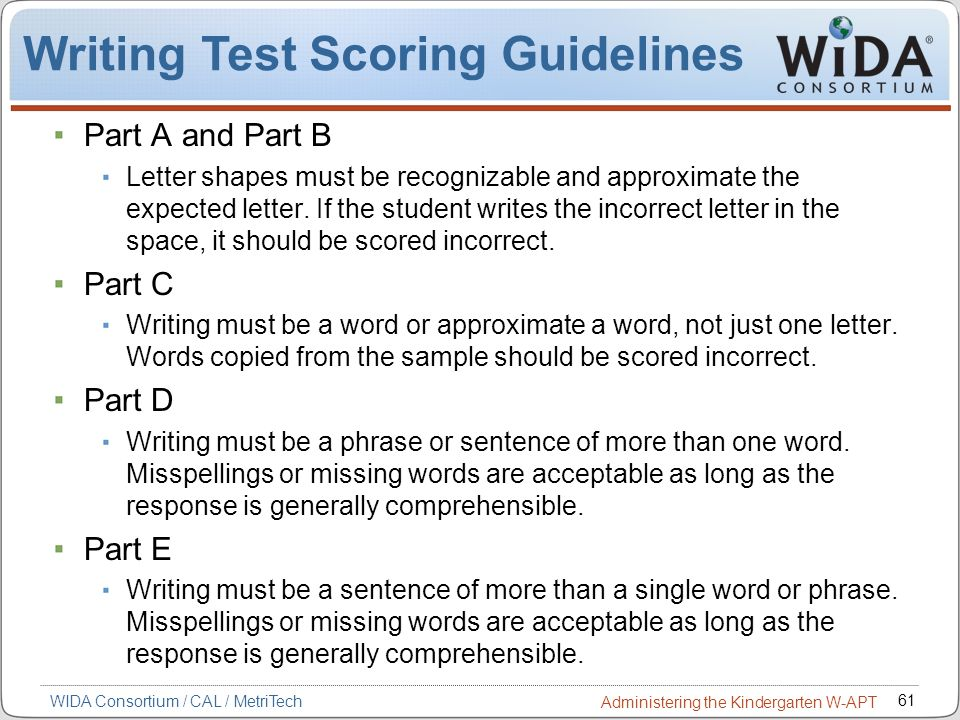 Writing Test Scoring Guidelines