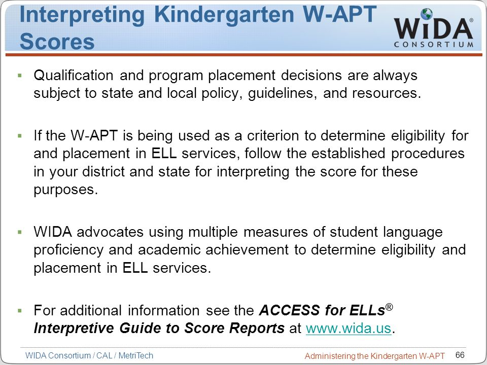 Interpreting Kindergarten W-APT Scores