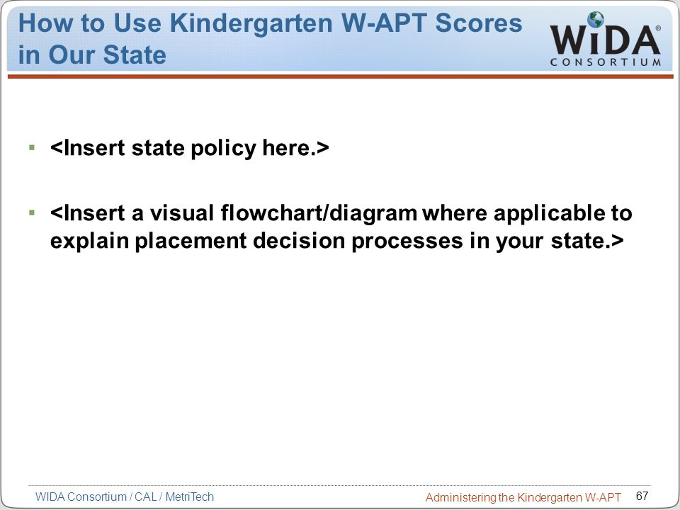 How to Use Kindergarten W-APT Scores in Our State