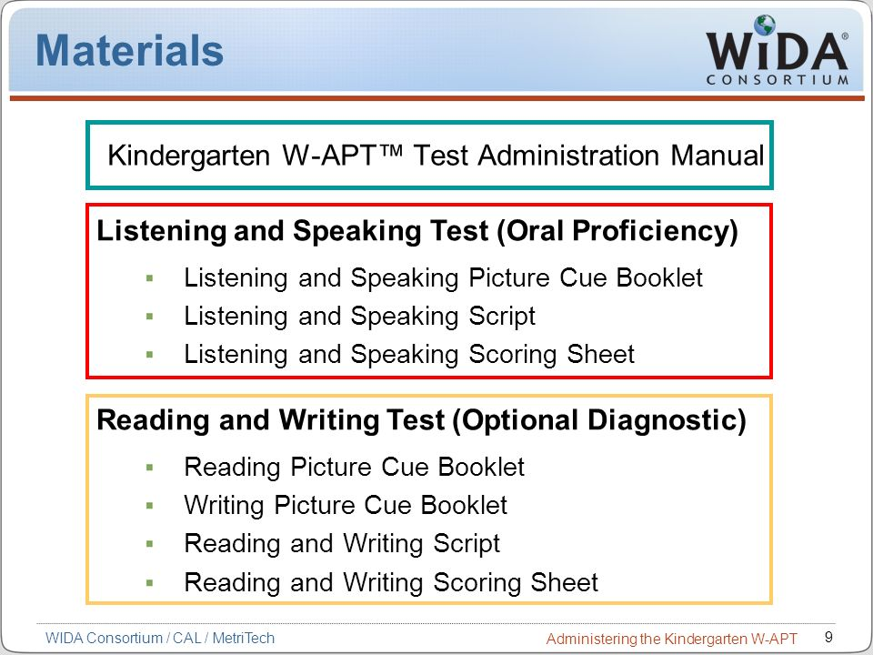 Kindergarten W-APT™ Test Administration Manual