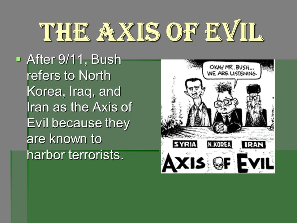 The Axis of Evil After 9/11, Bush refers to North Korea, Iraq, and Iran as the Axis of Evil because they are known to harbor terrorists.