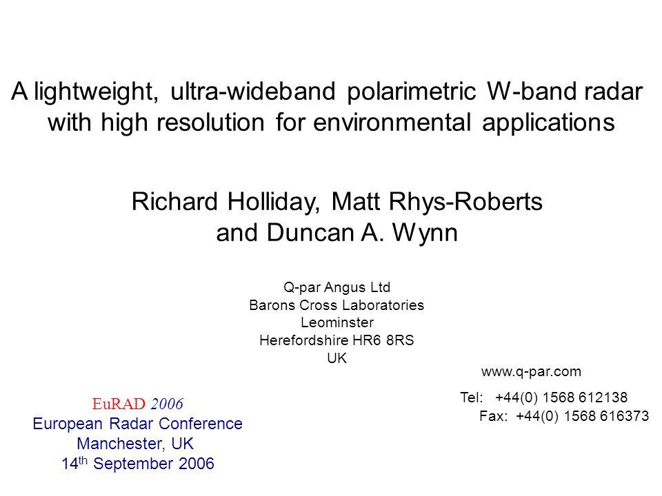 A lightweight, ultra-wideband polarimetric W-band radar