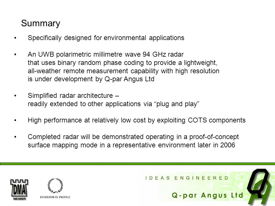 Summary Specifically designed for environmental applications
