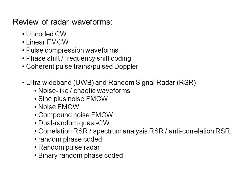 Review of radar waveforms:
