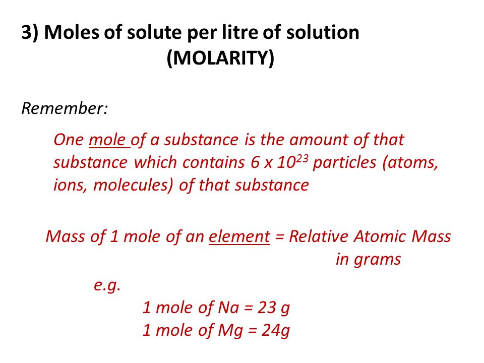 3) Moles of solute per litre of solution (MOLARITY)