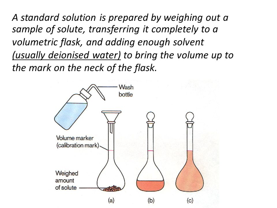 A standard solution is prepared by weighing out a