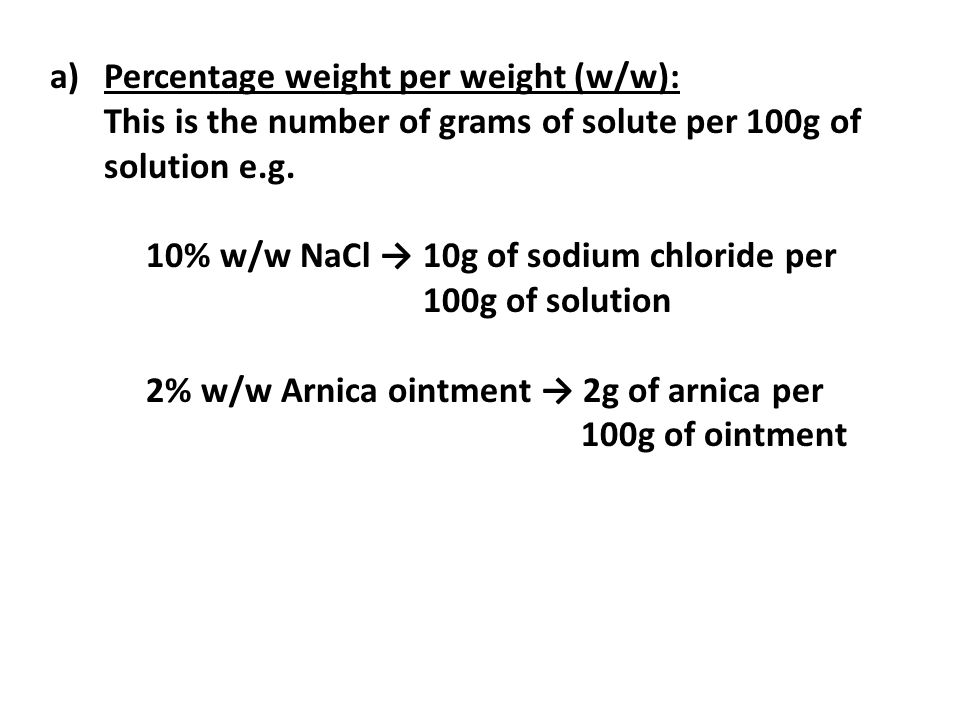 Percentage weight per weight (w/w):