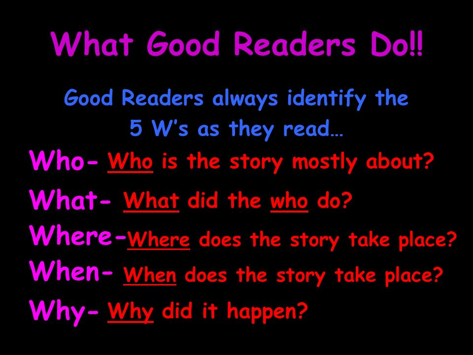 Good Readers always identify the