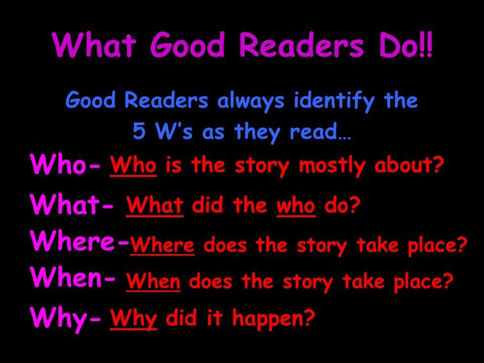 Good Readers always identify the