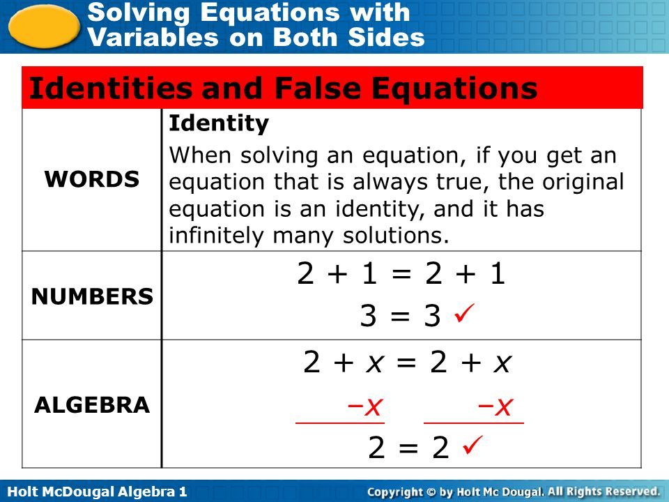 Identities and False Equations
